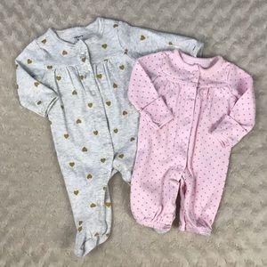 Carter's Baby Girl Sleeper Bundle Heart Butterfly